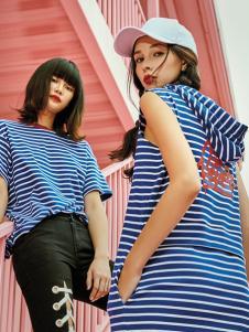 5secs五秒2018春夏韩版宽松中袖T恤女蝙蝠衫蓝白条纹半袖海魂衫
