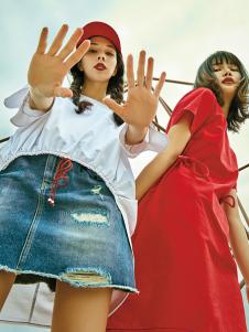 5secs五秒2018春夏新款气质淑女红色收腰系带连衣裙