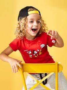 迪士尼宝宝红色圆领T恤