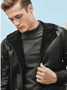 Rodrigo男装新品黑色皮质休闲夹克