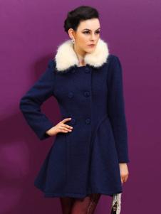 赑琪新款深蓝色大衣