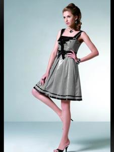 伊品女装灰色吊带连衣裙