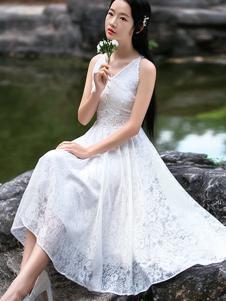 筱姿女装新品白色无袖蕾丝连衣裙