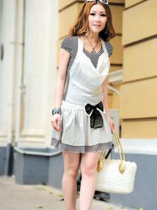 左娜女装新品白色假两件连衣裙