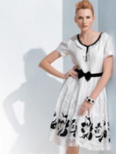伊品女装白色花边连衣裙