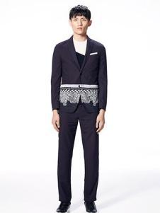 安正男装新品深灰色拼接款西装