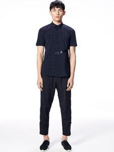 安正男装新品黑色短袖时尚衬衫