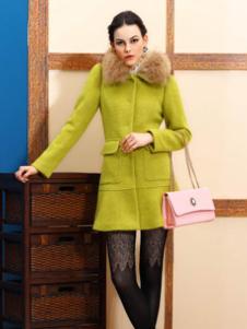 赑琪新款绿色毛领大衣