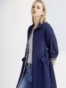 伊品女装藏青长款外套