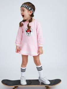 迪士尼宝宝粉色长袖女裙