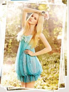 雨贝尔女装蓝色性感连衣裙