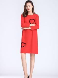 梦燕红色时尚连衣裙