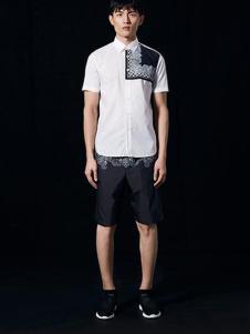安正男装新品白色印花休闲衬衫