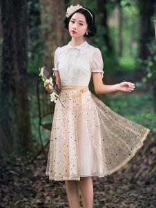 筱姿女装新品白色蕾丝欧根纱裙装