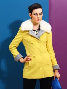 赑琪新款黄色大衣