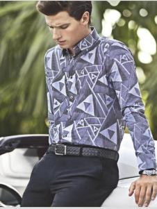 Rodrigo男装新品蓝灰色印花衬衫