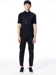 安正男装新品黑色商务衬衫