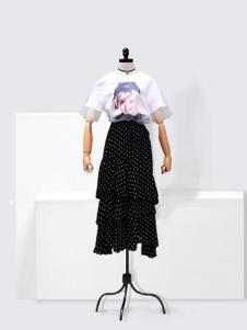 伊佳依女装黑色波点半身裙