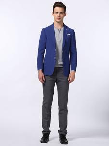 CARSYDA男装蓝色单排扣西装