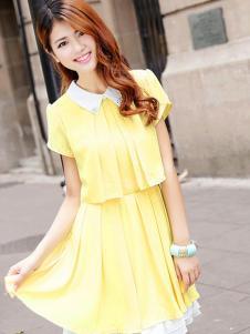 菲姿女装黄色短袖连衣裙