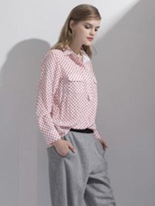 迪族女装 粉色格子衬衫