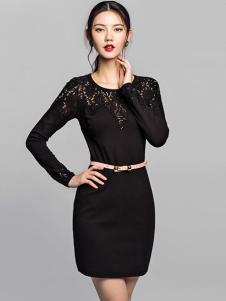 艾卓女装黑色修身连衣裙