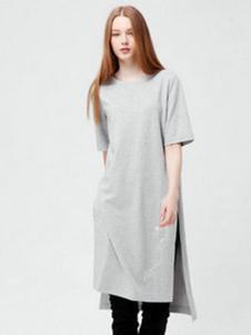 VOL.3女装灰色长款开叉T恤