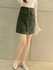 韩俪女装青色拉链半身裙