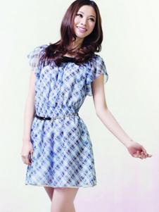 VOL.3女装蓝色短袖连衣裙