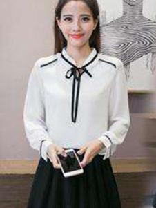 韩俪女装白色花边衬衫