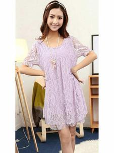 678月女装浅紫蕾丝连衣裙