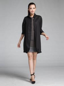 菲姿女装黑色长款立领外套