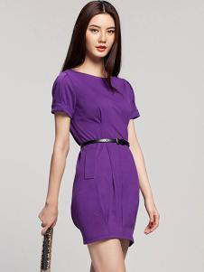 艾卓女装紫色修身连衣裙