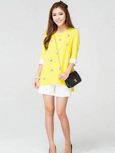 迪族女装 黄色五分袖T恤