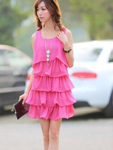 678月女装 粉色无袖蛋糕连衣裙