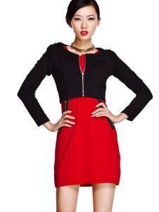 艾卓女装红色修身连衣裙