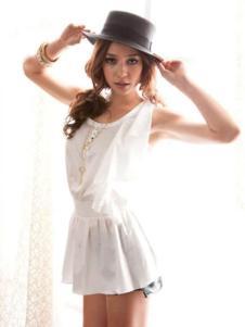 678月女装 白色无袖连衣裙