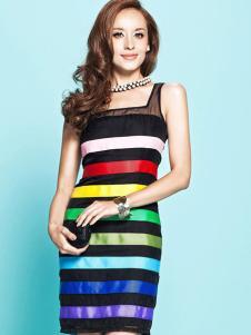 艾卓女装彩色条纹连衣裙