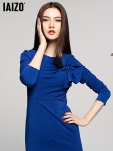 艾卓女装藏青蝴蝶结连衣裙