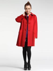 菲姿女装红色双排扣风衣