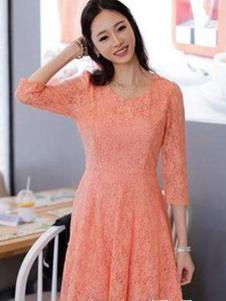 678月女装 橘色蕾丝连衣裙
