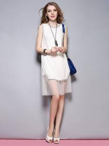 SYBEL女装白色无袖网纱连衣裙