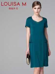 路逸沙·美女装绿色短袖连衣裙