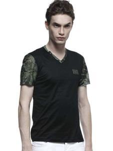 Mr.DT男装黑色V领T恤