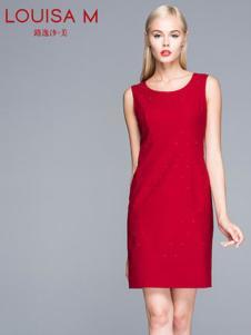 路逸沙·美女装红色无袖连衣裙