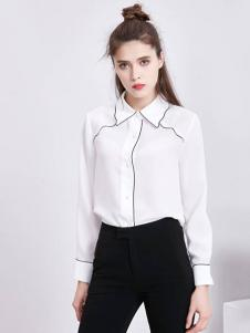 SYBEL女装白色翻领衬衫