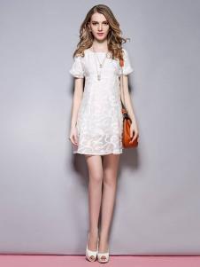 SYBEL女装白色蕾丝连衣裙