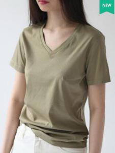 嘉茱莉女装新品灰绿色V领修身T恤