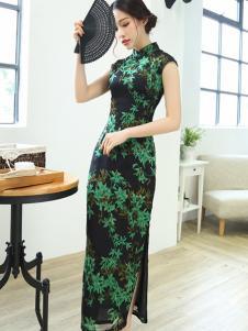 简兮女装黑色绿叶长款旗袍