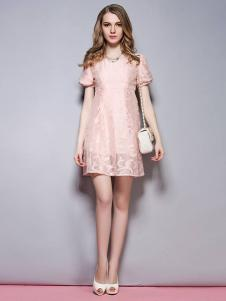 SYBEL女装粉色蕾丝连衣裙